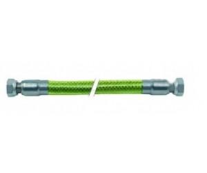 """Tubo gas flessibile L 1500mm 1/2"""" F - 1/2"""" F calza inox, rivestito in plastica EN 14800 DN12 - 250057"""