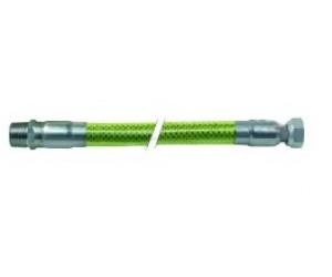 """Tubo gas flessibile L 1000mm 1/2"""" F - 1/2"""" M calza inox, rivestito in plastica EN 14800 DN12 - 250065"""